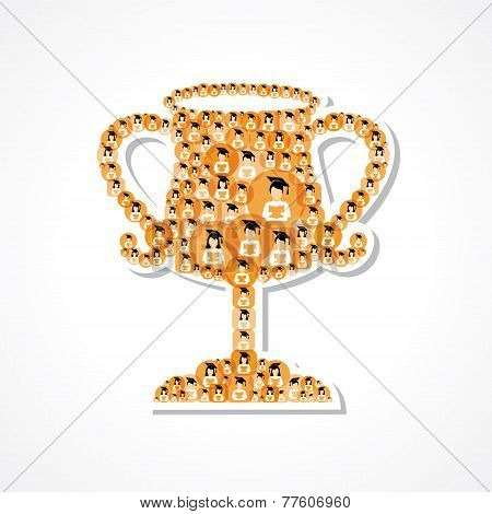 Group of male and female icons make a winning cup stock vector