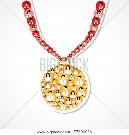 Group of male and female icons make a medal stock vector