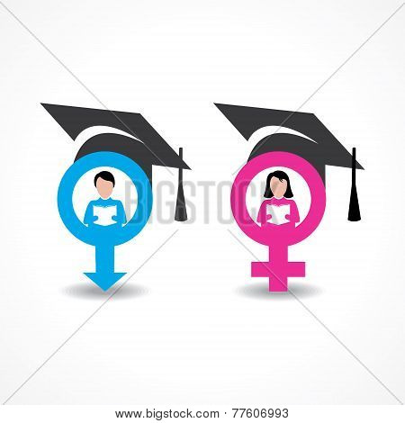 male and female icons with graduate cap stock vector