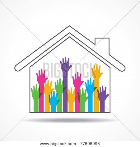 Group of up hands in the home stock vector
