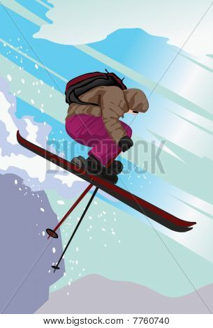 Ski Jumping Down The Mountain Slope