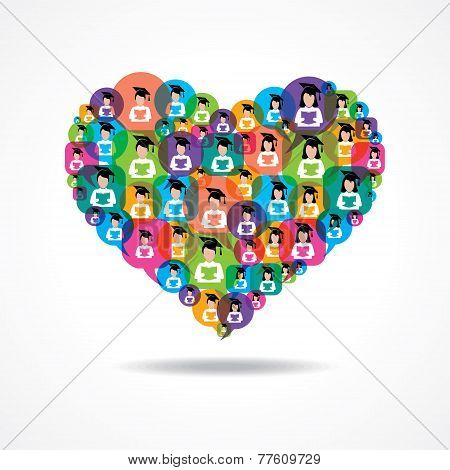 Group of male and female icons make a heart stock vector