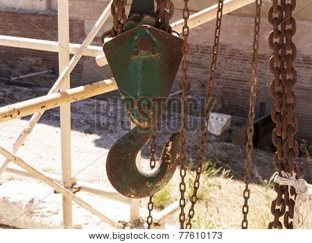 heavy duty hoist old lifting hook photo. poster