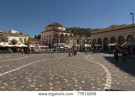 Monastiraki Square In Athens Photo, Greece. Flea Market Neighborhood In The Old Town Of Athens And O
