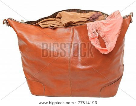 Leather Handbag With Blouse And Pink Lace Panties