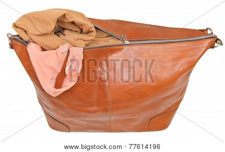 Ajar Leather Bag With Blouse And Pink Lace Panties