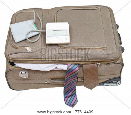 Sphygmomanometer On Suitcase With Male Ties
