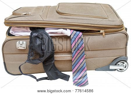 Suitcase With Fell Out Male Tie And Female Bra