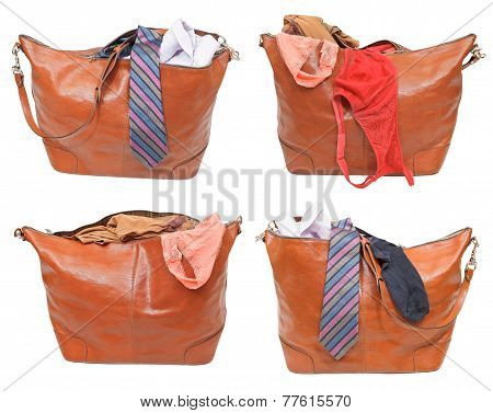 set of leather handbags with female and male clothes isolated on white background poster