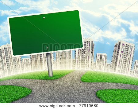 Billboard against line of high-rise buildings, curved Earth