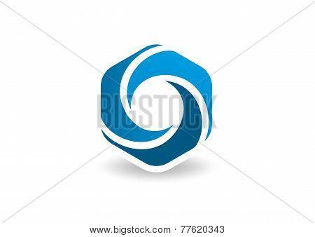 Hexagon  circular vector logo design template.