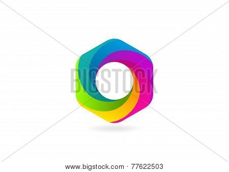 hexagon loop business logo colourful
