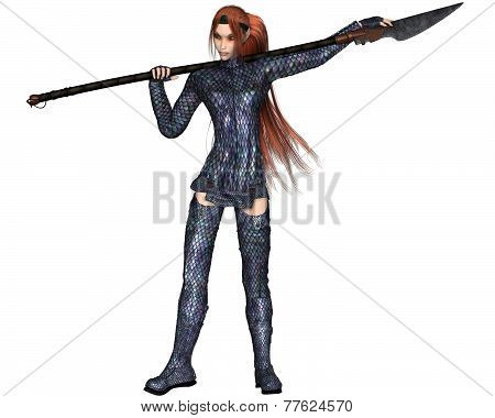 Fantasy illustration of a red-haired warrior elf woman wearing dragon scale armour and holding a lance or spear, 3d digitally rendered illustration poster