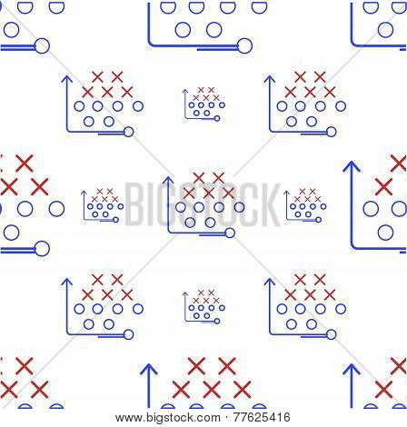 Seamless vector pattern for American football game strategy with x's and o's and arrow in red and blue colors on white background. poster
