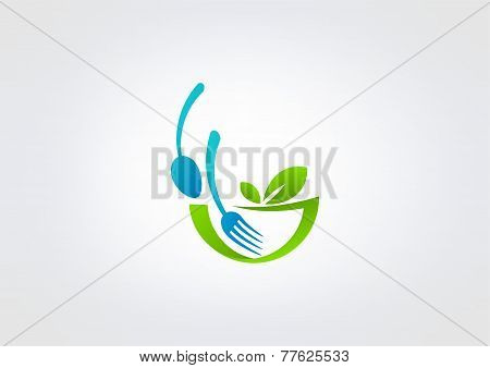leaf restaurant vector logo design