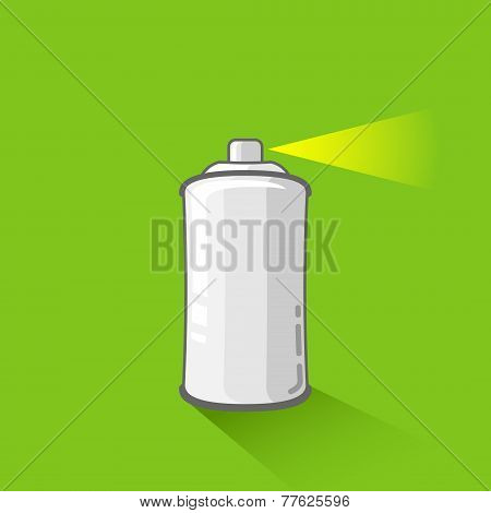 aluminum spray can on green background. aerosol spray can or metal bottle in flat style poster