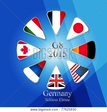 Illustration releated to G8 summit in germany in 2015 with eight flags in triangles and with sign and year in the middle and with place of meeting written in the bottom part of picture on blue background with different shades. poster