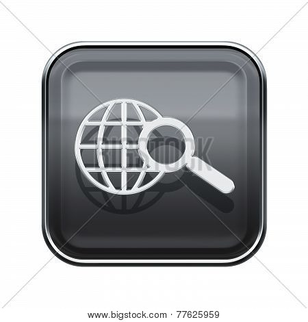 Globe And Magnifier Icon Glossy Grey, Isolated On White Background