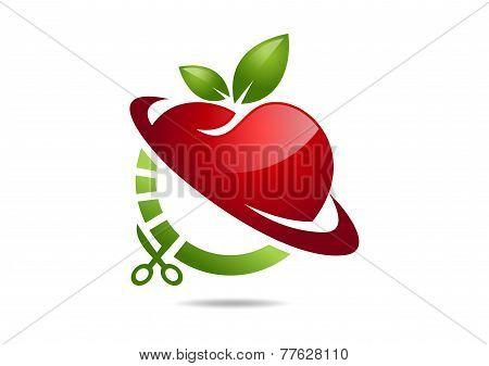 apple diet vector logo design