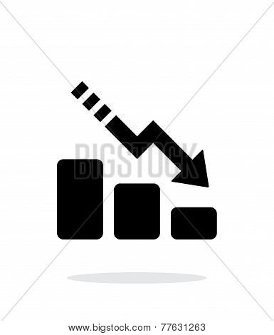 Line chart down icon on white background.