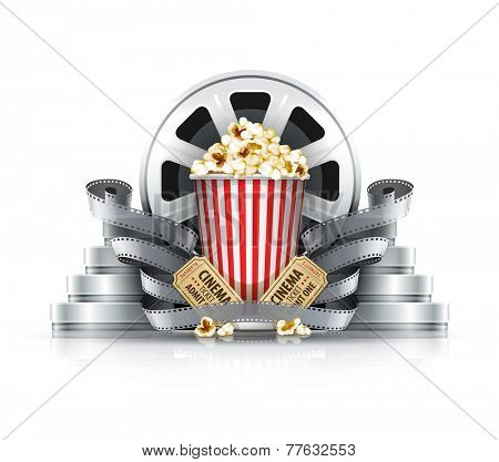 Popcorn film-strips and disks with cinema tickets to movie theater. Eps10 vector illustration. Isolated on white background