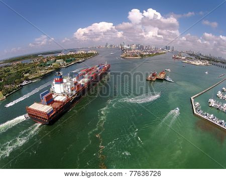 Caargo Ship Enters Port Aerial View