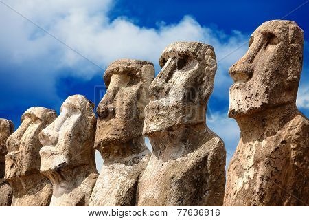 Five Moai Heads In Bright Sunshine In Easter Island