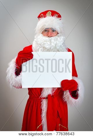 Pathetic Santa Claus Is Holding White Blank.