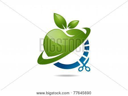 Vector logo diet, dietician. Green apple