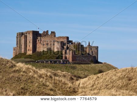 Grass And Dunes At Bamburgh Castle