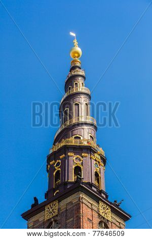 Church Tower In Copenhagen, Denmark