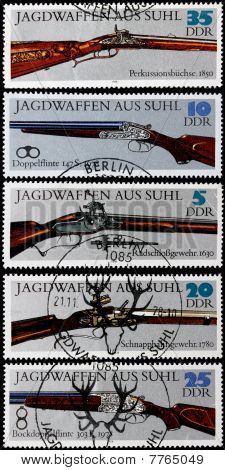 post stamps shows ancient guns