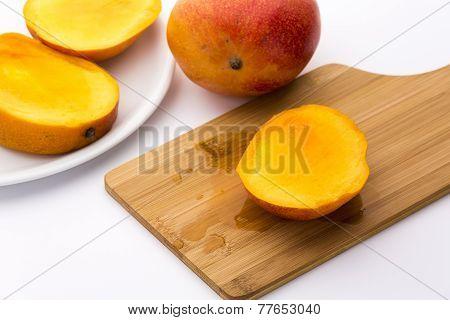 Juicy Mango Slice On A Wooden Cutting Board