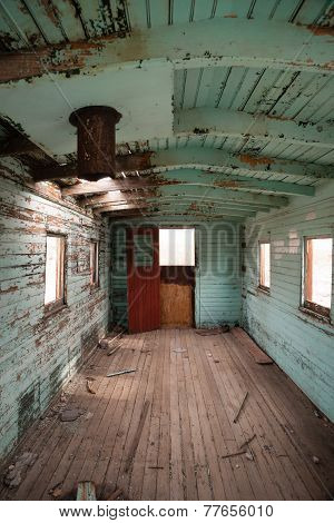 Abandoned Railroad Caboose Interior Western Ghost Town
