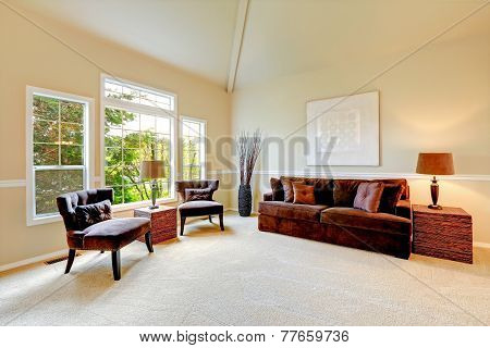 Bright Ivory Living Room With High Vaulted Ceiling And French Window.