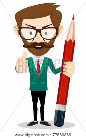 Smiling cartoon Businessman or teacher in jacket with a big red pencil