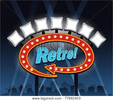Retro motel hotel banner sign ad, party city at night