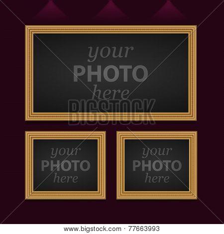 Set of 3 vector photo frames