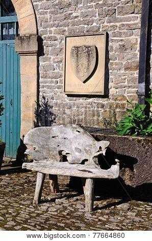 Rustic wooden bench.