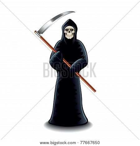 Grim Reaper Isolated On White Vector