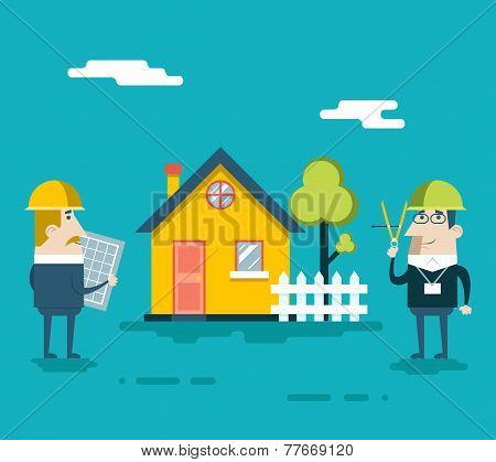 Happy Builder Designer Engineer Foreman Characters House Real Estate Fence Tree Icon Concept Flat De