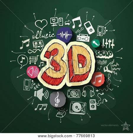 Music and entertainment collage with icons on blackboard. Vector illustration poster