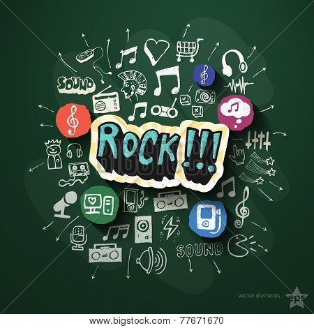 Entertainment and music collage with icons on blackboard