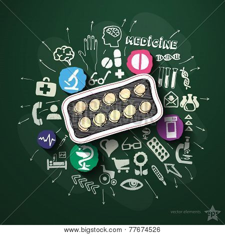 Medicine collage with icons on blackboard