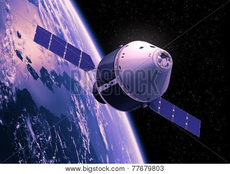Crew Exploration Vehicle Orbiting Earth. 3D Scene. poster