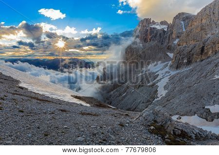 Suset In Dolomite Alps, Italy
