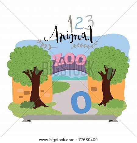 Children alphabet of animals and figures. Digit zero. Vector illustration.