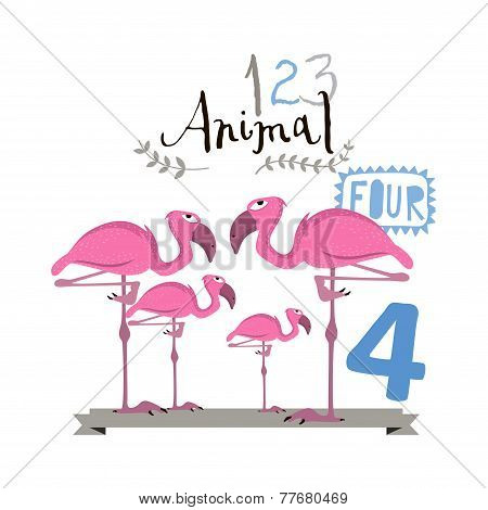 Children alphabet of animals and figures. Four figure. Vector illustration