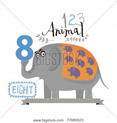 Children alphabet of animals and figures. Figure eight. Vector illustration.
