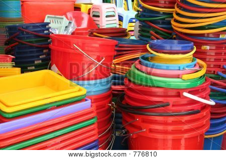 Colorful buckets